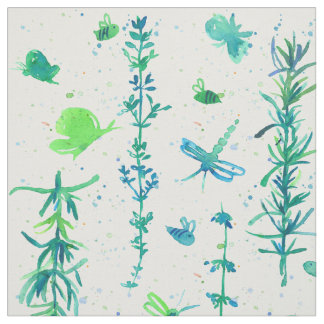 Rosemary Thyme Butterflies Watercolor Fabric