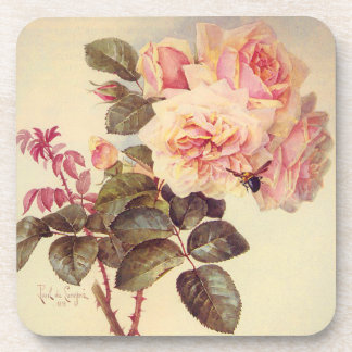 Roses and a Bumble Bee Cork Coaster
