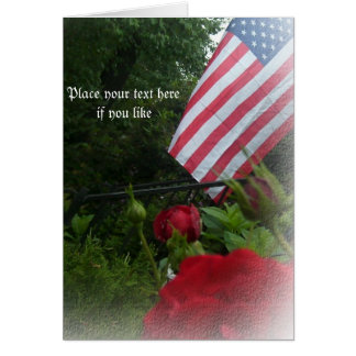 Roses and American flag card