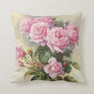 Roses and Bumblebees Paul de Longpre Fine Art Cushion