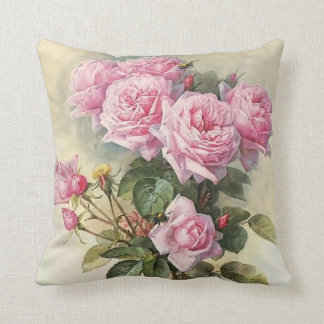 Roses and Bumblebees Paul de Longpre Fine Art Throw Cushion