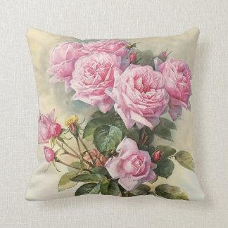 Roses and Bumblebees Paul de Longpre Fine Art Throw Pillow