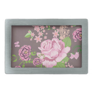Roses and Butterflies Ornament Rectangular Belt Buckle