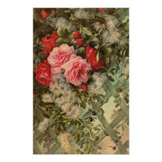 Roses and Clematis on a Trellis Poster