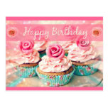Roses and Cupcakes Postcard