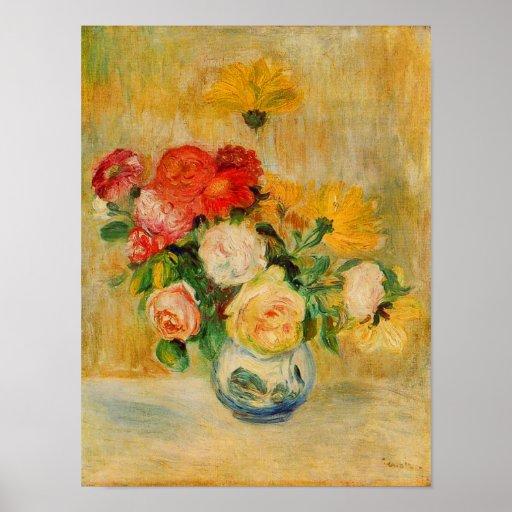 Roses and Dahlias by Renoir Print