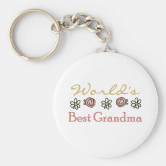 Roses and Daisies World's Best Grandma  Basic Round Button Key Ring