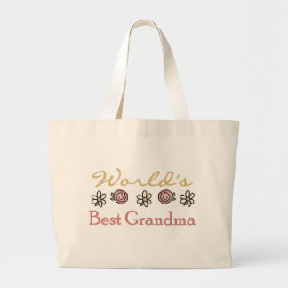 Roses and Daisies World's Best Grandma  Jumbo Tote Bag