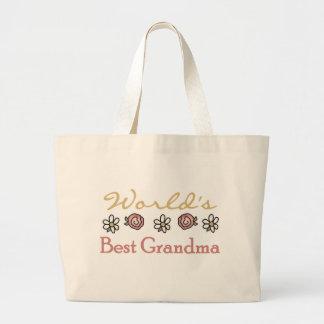 Roses and Daisies World's Best Grandma  Jumbo Tote Bag