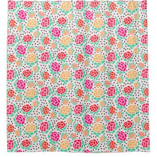 Roses and Dots - Floral - Shower Curtain