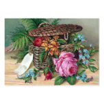 Roses and Ferns in Basket Vintage Victorian Business Cards