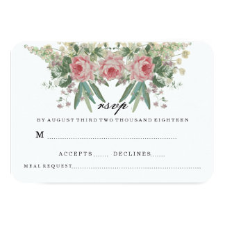 Roses AND GREENS WEDDING RSVP 9 Cm X 13 Cm Invitation Card