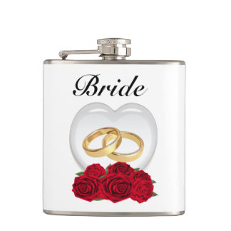 Roses and Heart Bride Hip Flask