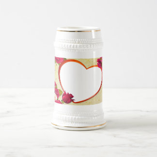 Roses and Heart Frame Add Your Photo Beer Stein