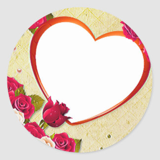 Roses and Heart Frame Add Your Photo Classic Round Sticker