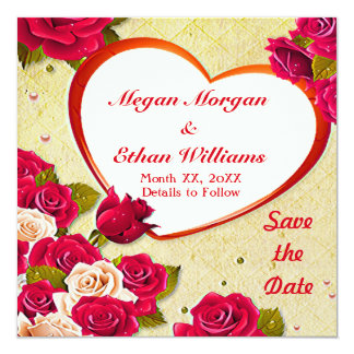 Roses and Heart Frame Save the Date Flat Card 13 Cm X 13 Cm Square Invitation Card