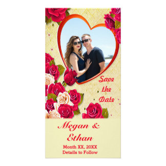 Roses and Heart Frame Save the Date Photocard Picture Card