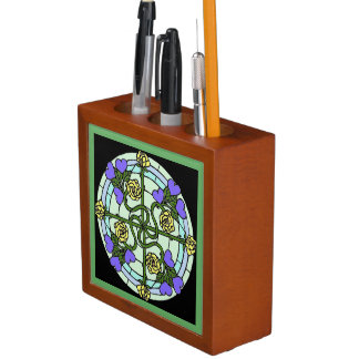 Roses and Hearts Stained Glass Desk Organizer