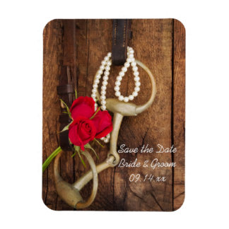 Roses and Horse Bit Country Wedding Save the Date Rectangular Magnets