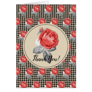 Roses and houndstooth design Thank You Card