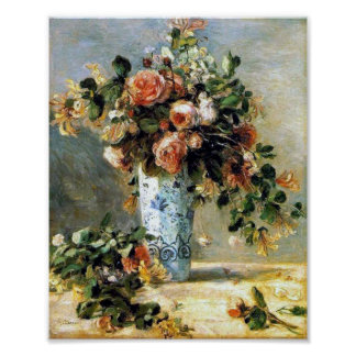 Roses and Jasmine in a Delft Vase Renoir Fine Art Poster