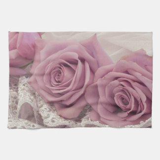 Roses And Lace Still Life Tea Towel
