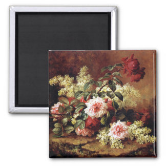 Roses and Lilac Flowers by Paul de Longpre Fine Ar Magnets