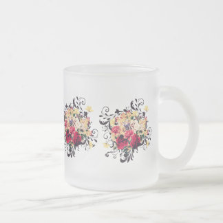 Roses and lilac. Pretty vintage styled print Frosted Glass Coffee Mug