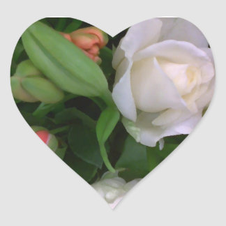 Roses and Lilies Heart Sticker