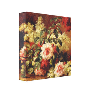 Roses and Mahogany by de Longpre Wrapped Canvas