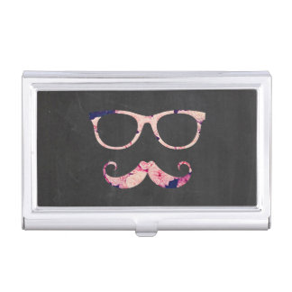 Roses and mustache business card holder