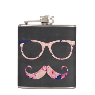 Roses and mustache hip flask