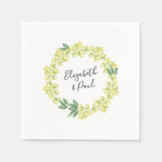 Roses and Olives Wedding Paper Napkin