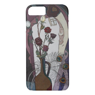 Roses and peacock feather-Apple iPhone case