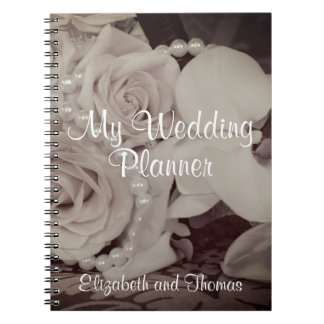 "Roses and Pearls 'My Wedding Planner"" Notebook"
