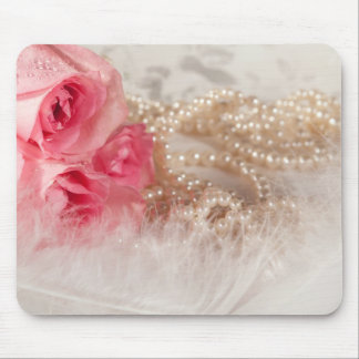 Roses and pearls with feathers mouse pad