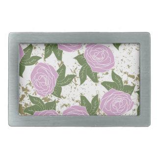 roses and peeling paint rectangular belt buckles