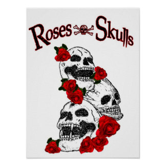 Roses and Skulls Poster Print