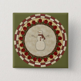 Roses and Snowmen 15 Cm Square Badge