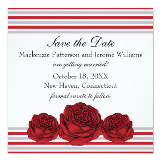 """Roses and Stripes Save the Date Invite, Red 5.25"""" Square Invitation Card"""