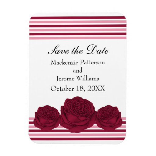 Roses and Stripes Save the Date Magnet, Fuchsia