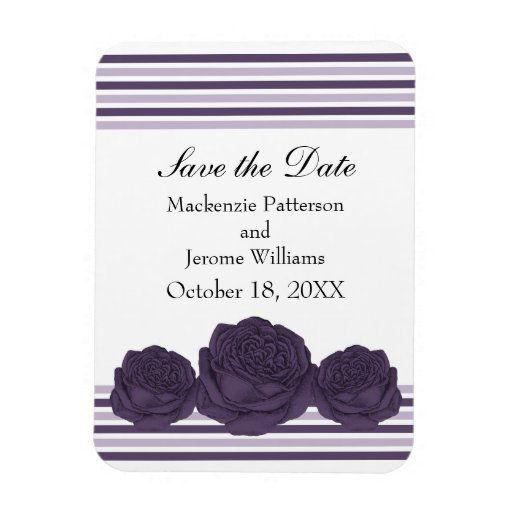 Roses and Stripes Save the Date Magnet, Purple