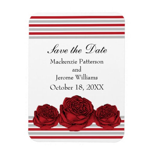 Roses and Stripes Save the Date Magnet, Red