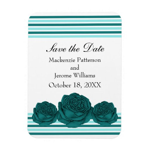 Roses and Stripes Save the Date Magnet, Teal