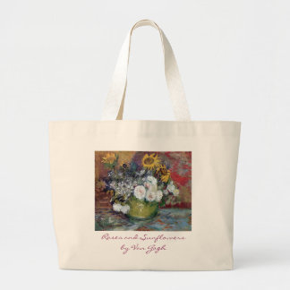 Roses and Sunflowers by Van Gogh Large Tote Bag
