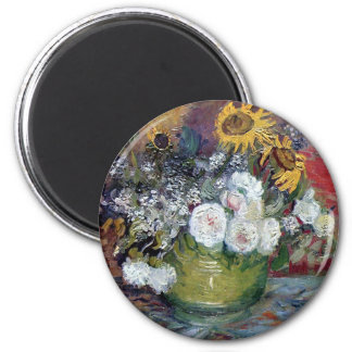 Roses and Sunflowers by Van Gogh 6 Cm Round Magnet