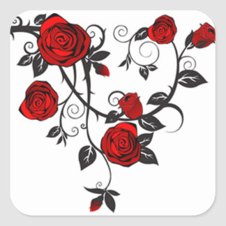 Roses and Vines Square Sticker