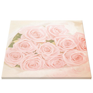 Roses are pink my love! stretched canvas print