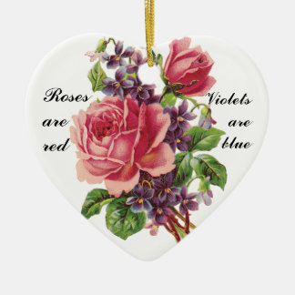 Roses are Red, Violets are Blue Valentine Ornament Ceramic Heart Ornament