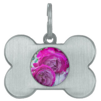 roses background pet ID tag